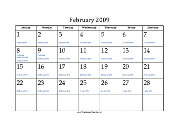 February 2009 Calendar with Jewish equivalents and holidays