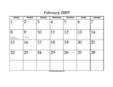 February 2009 Calendar with Jewish holidays