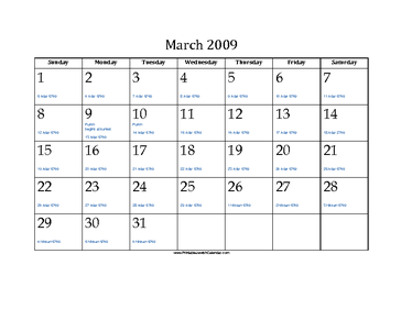 March 2009 Calendar with Jewish equivalents and holidays