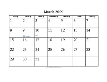 March 2009 Calendar with Jewish holidays