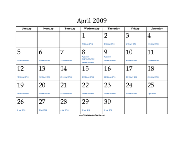 April 2009 Calendar with Jewish equivalents and holidays