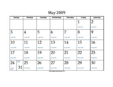 May 2009 Calendar with Jewish equivalents