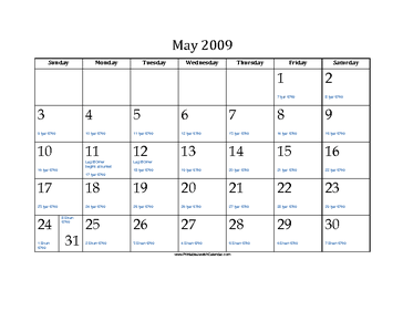 May 2009 Calendar with Jewish equivalents and holidays