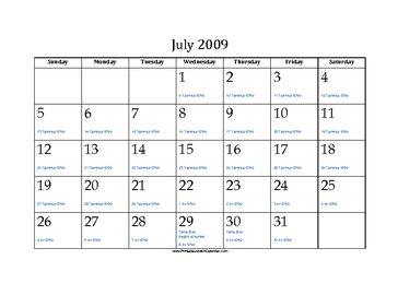 July 2009 Calendar with Jewish equivalents and holidays