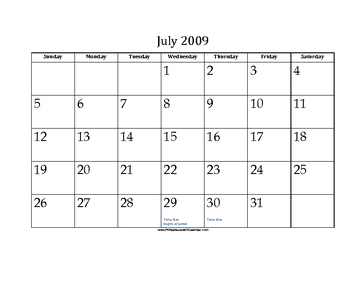 July 2009 Calendar with Jewish holidays