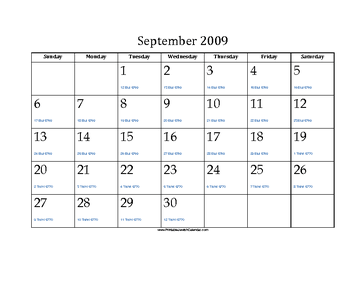 September 2009 Calendar with Jewish equivalents
