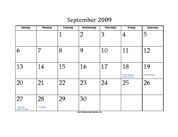 September 2009 Calendar with Jewish holidays