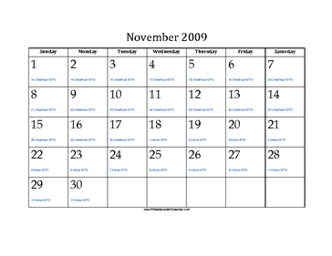 November 2009 Calendar with Jewish equivalents