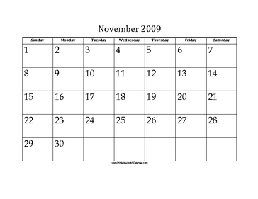 November 2009 Calendar with Jewish holidays