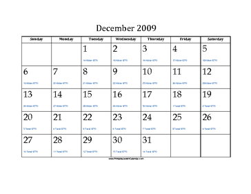 December 2009 Calendar with Jewish equivalents