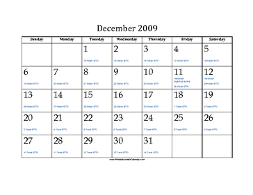 December 2009 Calendar with Jewish equivalents and holidays