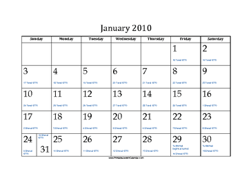 January 2010 Calendar with Jewish equivalents and holidays