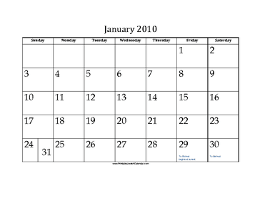 January 2010 Calendar with Jewish holidays