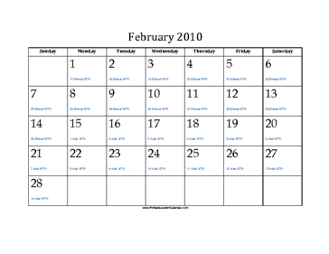 February 2010 Calendar with Jewish equivalents