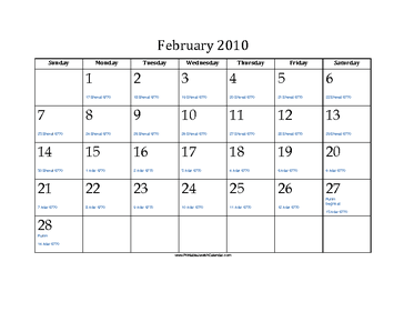 February 2010 Calendar with Jewish equivalents and holidays