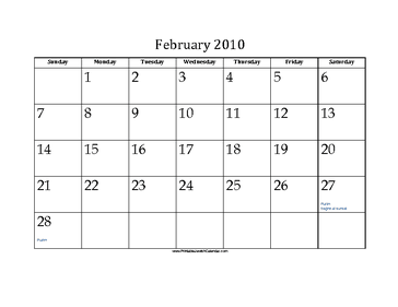 February 2010 Calendar with Jewish holidays
