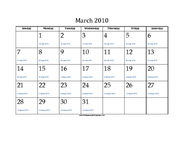 March 2010 Calendar with Jewish equivalents
