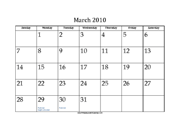 March 2010 Calendar with Jewish holidays