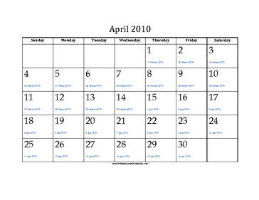 April 2010 Calendar with Jewish equivalents