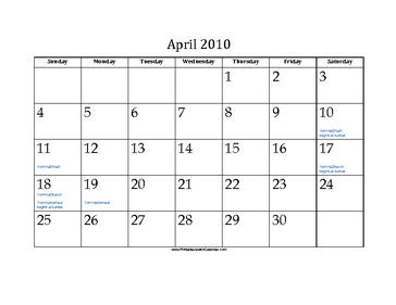 April 2010 Calendar with Jewish holidays