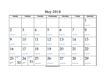 May 2010 Calendar with Jewish equivalents