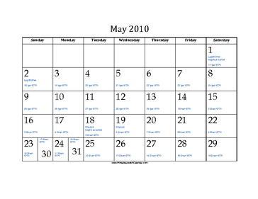 May 2010 Calendar with Jewish equivalents and holidays