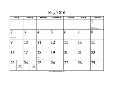 May 2010 Calendar with Jewish holidays