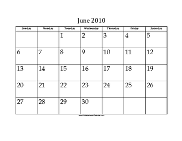 June 2010 Calendar with Jewish holidays