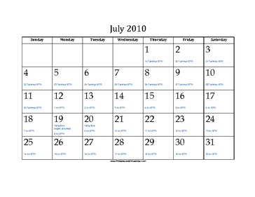 July 2010 Calendar with Jewish equivalents and holidays
