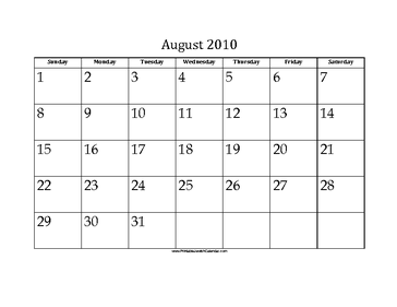 August 2010 Calendar with Jewish holidays