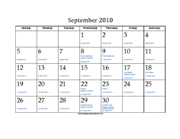 September 2010 Calendar with Jewish equivalents and holidays