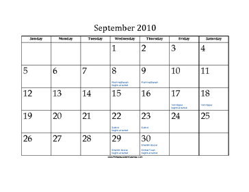 September 2010 Calendar with Jewish holidays