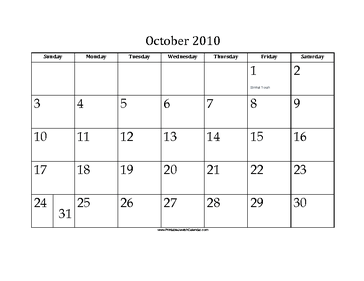 October 2010 Calendar with Jewish holidays