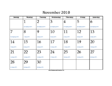 November 2010 Calendar with Jewish equivalents and holidays
