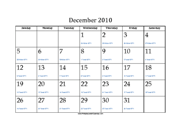 December 2010 Calendar with Jewish equivalents
