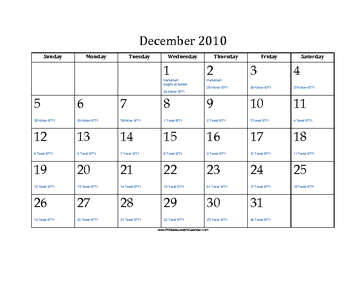 December 2010 Calendar with Jewish equivalents and holidays