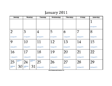 January 2011 Calendar with Jewish equivalents