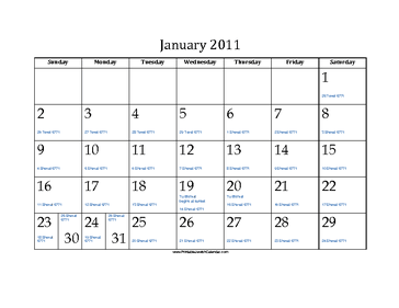 January 2011 Calendar with Jewish equivalents and holidays
