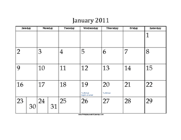 January 2011 Calendar with Jewish holidays