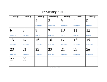 February 2011 Calendar with Jewish equivalents and holidays