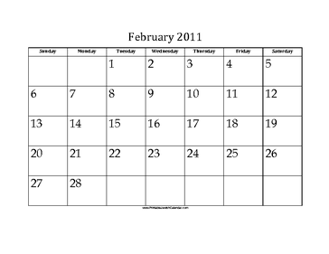 February 2011 Calendar with Jewish holidays