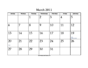 March 2011 Calendar with Jewish holidays