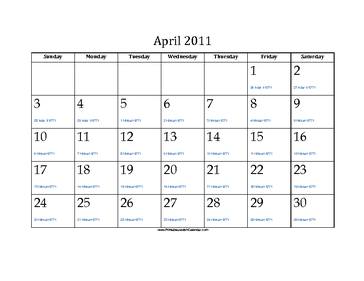 April 2011 Calendar with Jewish equivalents