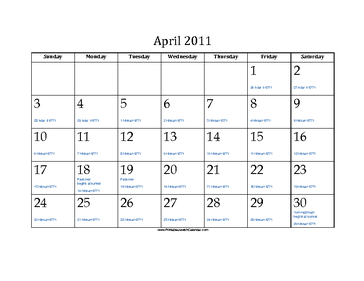 April 2011 Calendar with Jewish equivalents and holidays