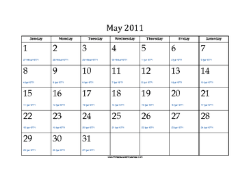 May 2011 Calendar with Jewish equivalents