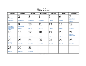 May 2011 Calendar with Jewish equivalents and holidays
