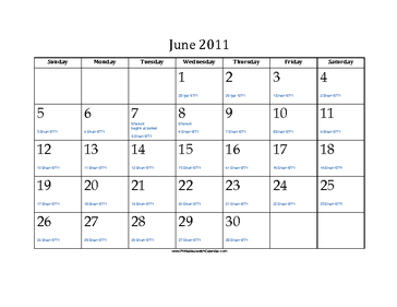 June 2011 Calendar with Jewish equivalents and holidays