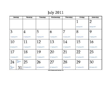 July 2011 Calendar with Jewish equivalents and holidays