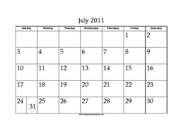 July 2011 Calendar with Jewish holidays
