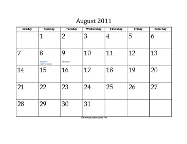 August 2011 Calendar with Jewish holidays
